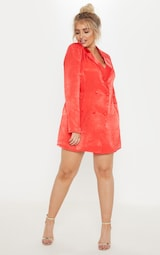ca0352b996d Plus Red Satin Shoulder Pad Blazer Dress image 4