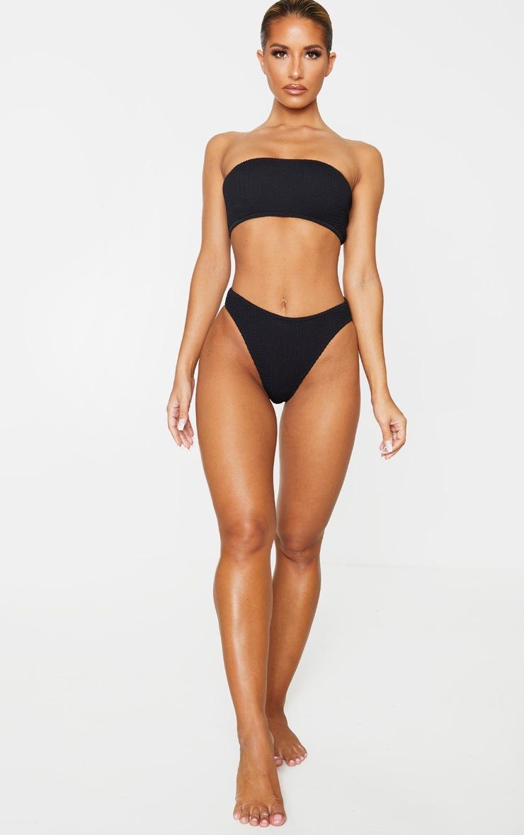 Black Cheeky Bum Crinkle Bikini Bottom 4