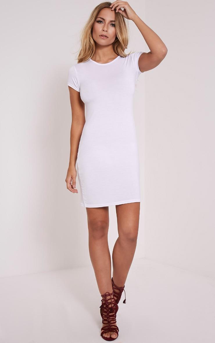 Basic White Jersey Dress 4