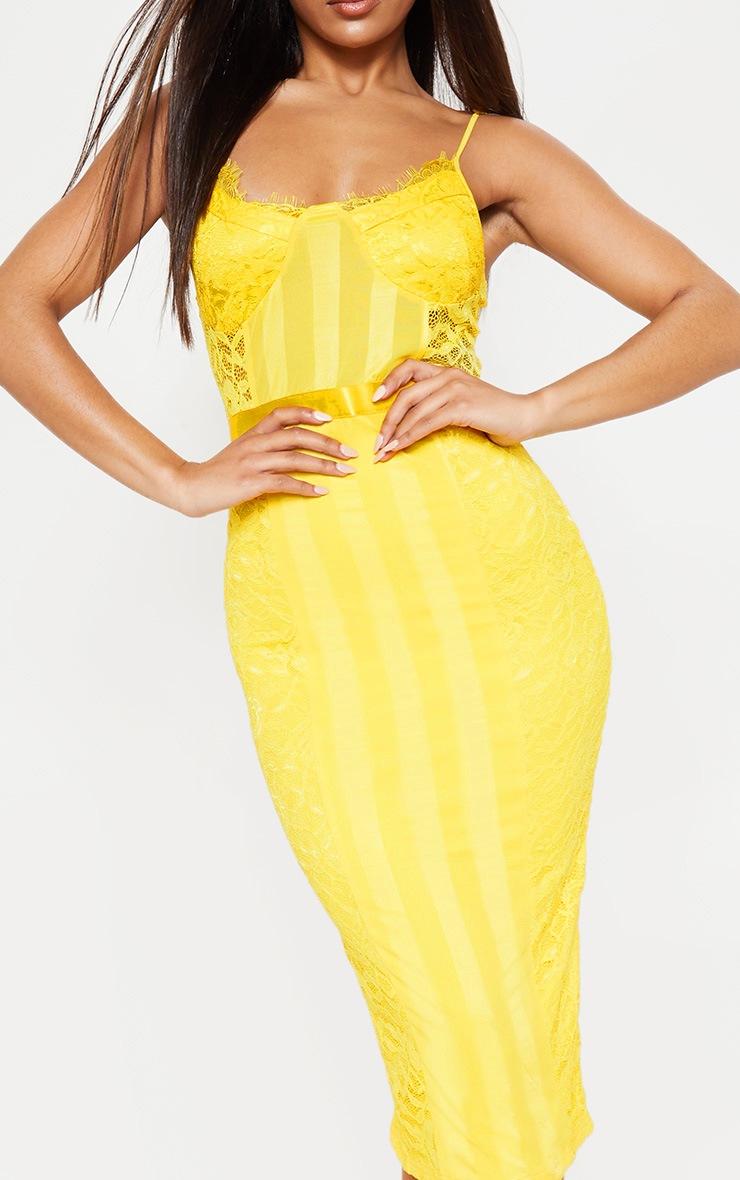 Yellow Lace Lined Midi Dress 5