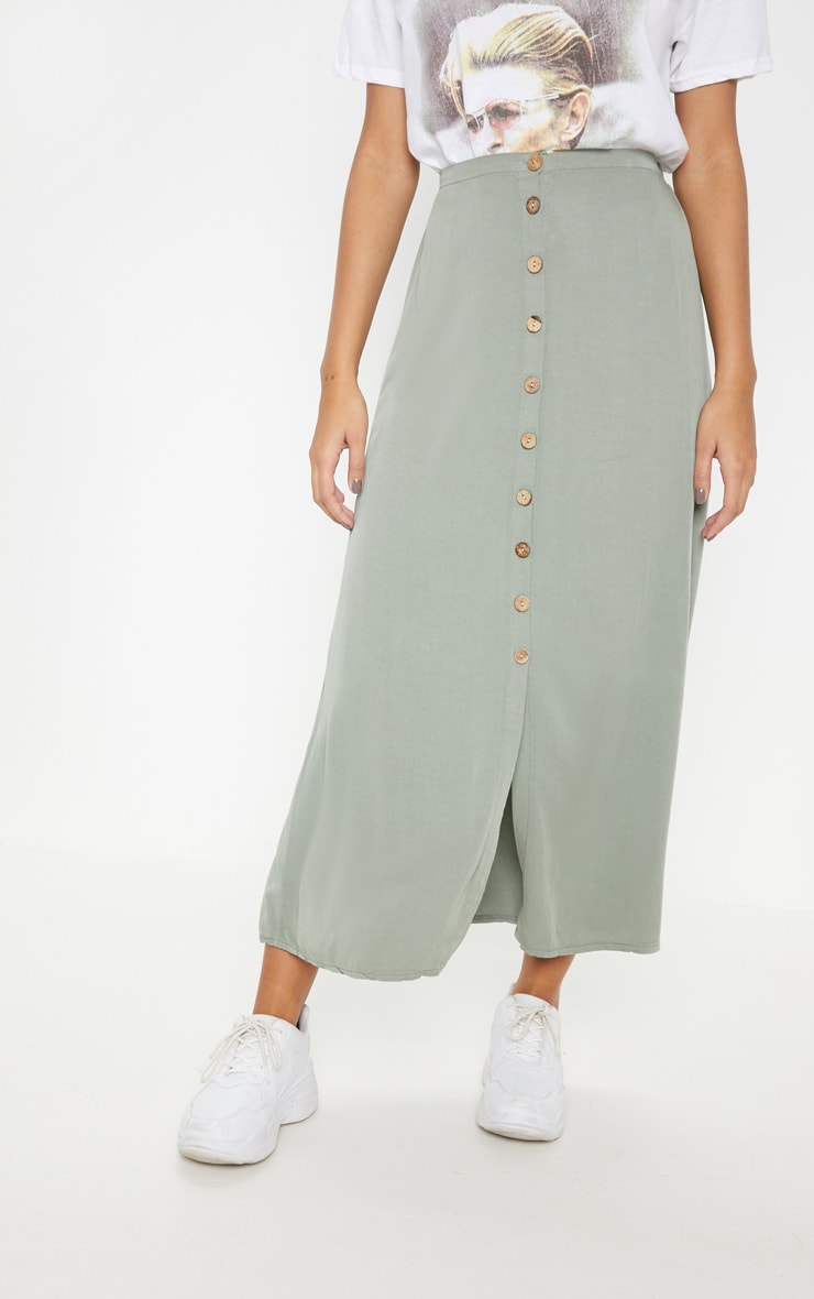 Sage Green Button Front High Waisted Midi Skirt 2