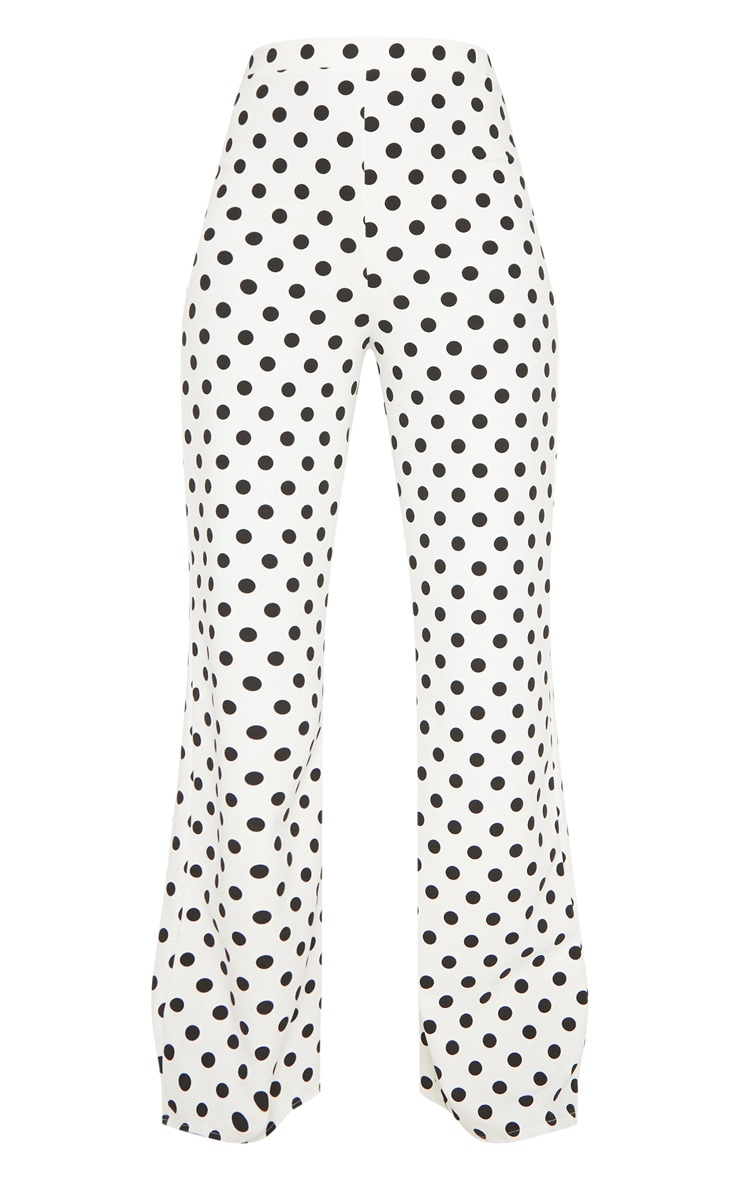 White High Waisted Polka Dot Wide Leg Trouser  3