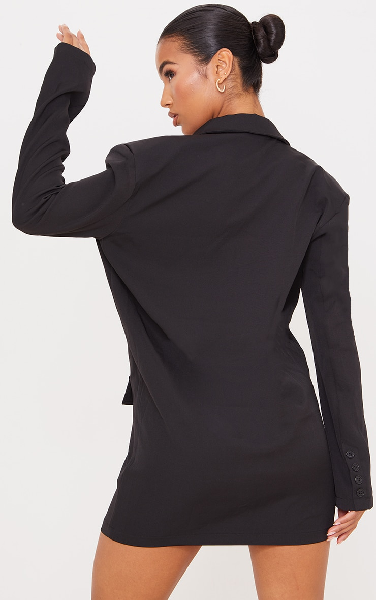 Black Woven Pocket Detail Long Sleeve Blazer Dress 2