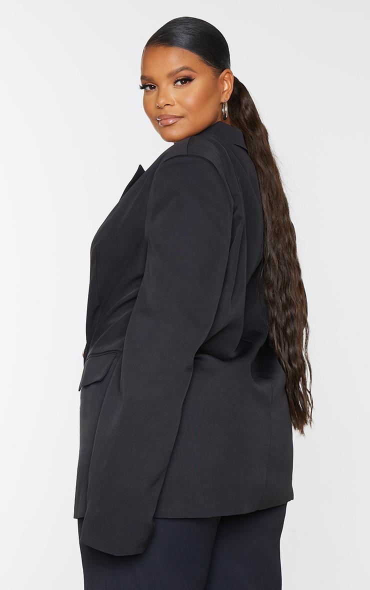 Plus Black Woven Shoulder Padded Oversized Blazer 2
