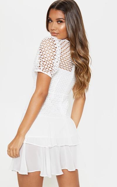 White Lace Puff Sleeve Shift Dress