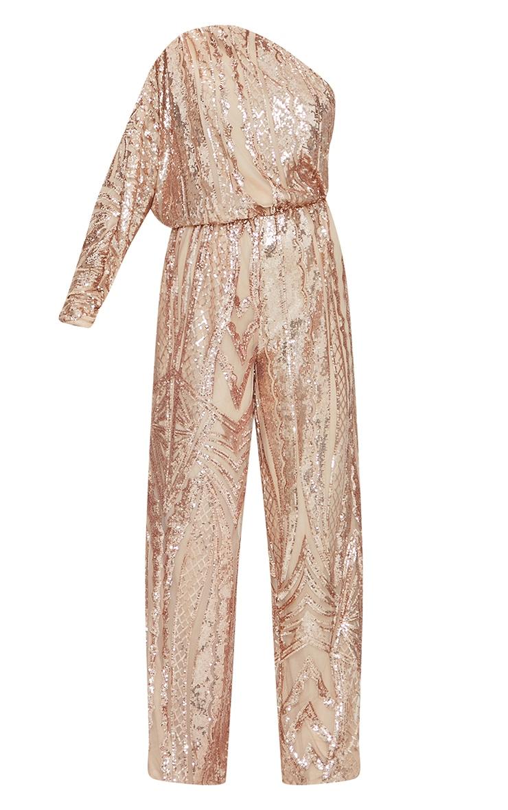 Rose Gold Premium Patterned Sequin One Shoulder Wide Leg Jumpsuit 5