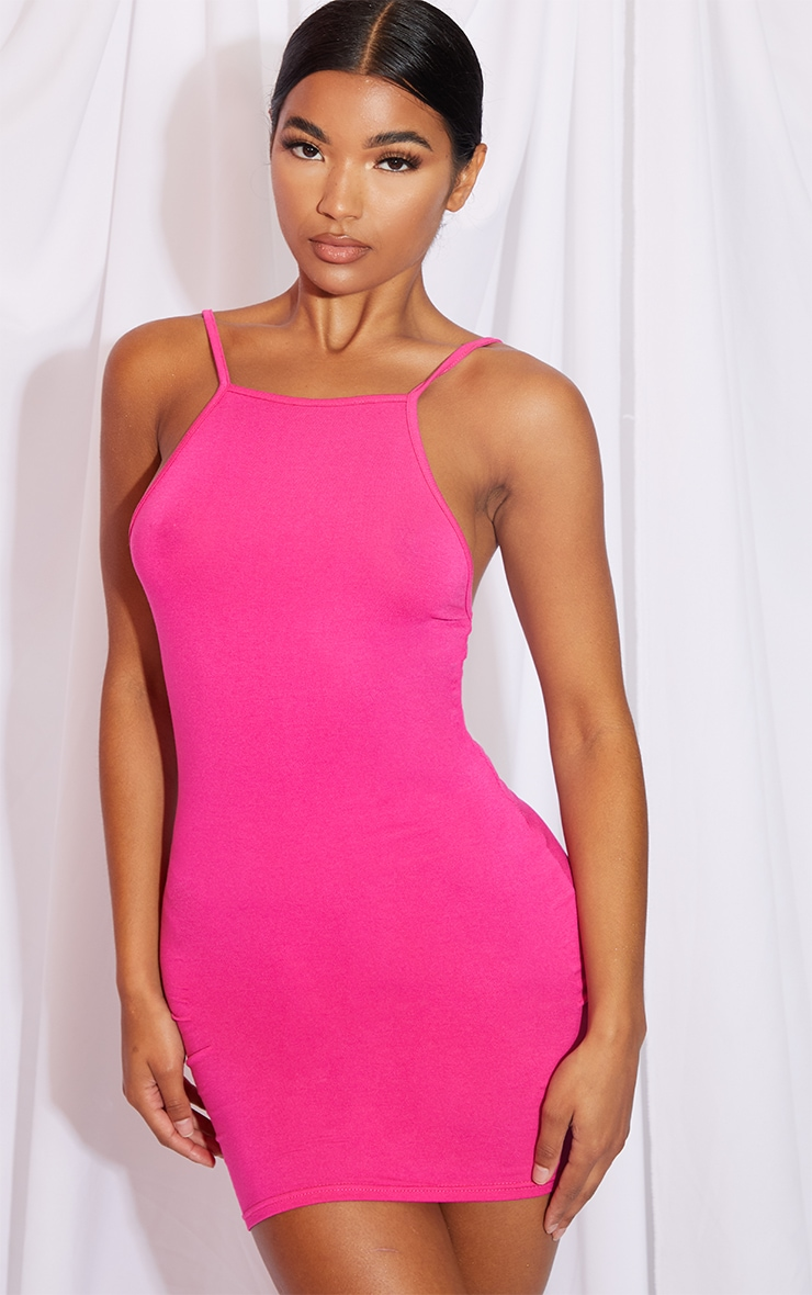 Hot Pink 90s Neck Bodycon Dress 3
