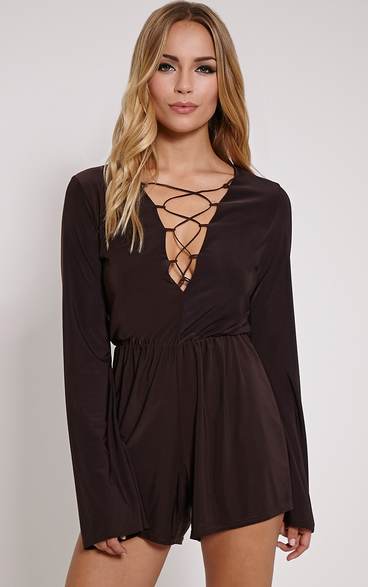 Talma Chocolate Lace Up Slinky Playsuit 1
