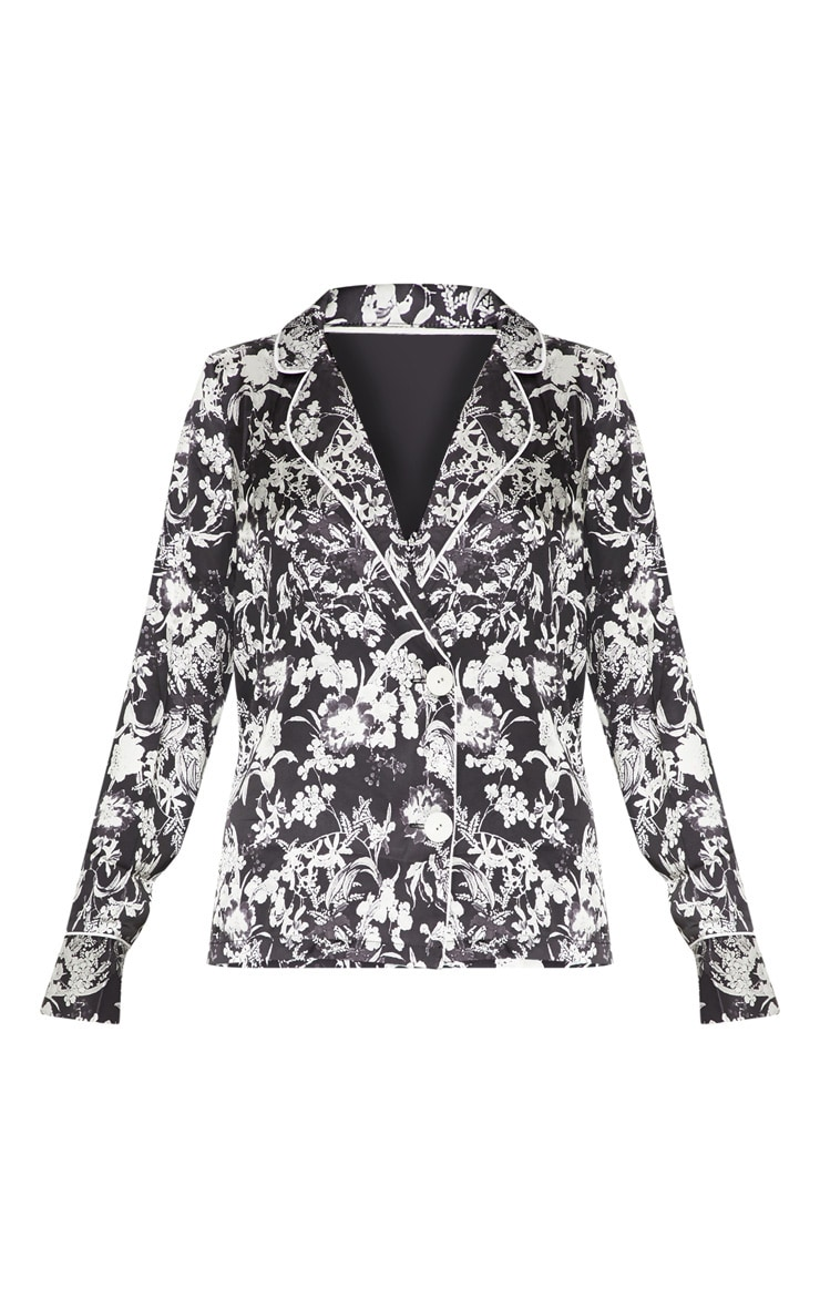 Black Floral Printed Button Front Shirt 3