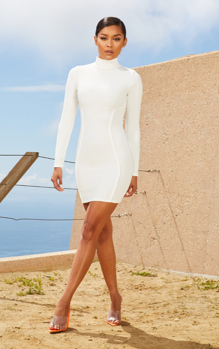 White Second Skin High Neck Binding Detail Bodycon Dress 4