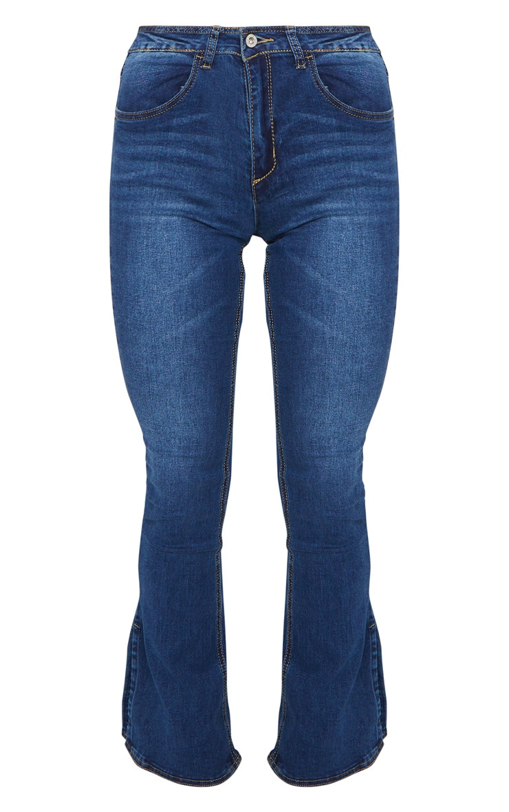 Indigo Side Split Hem Flared Jeans 5