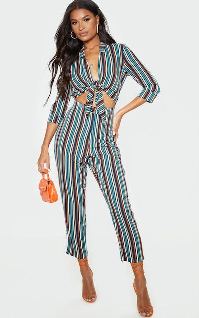 Multi Stripe Tie Front Jumpsuit