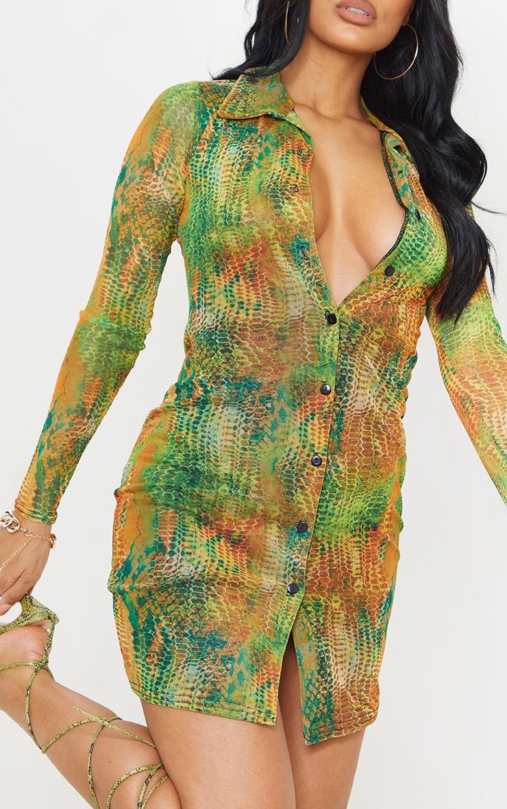 Multi Snake Print Mesh Button Down Shirt Dress 4