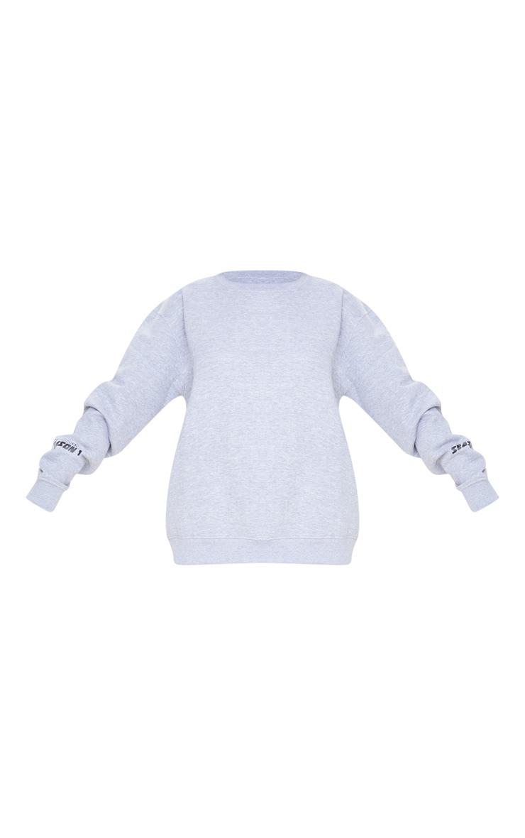 PRETTYLITTLETHING Grey Season 1 Slogan Sweater 3