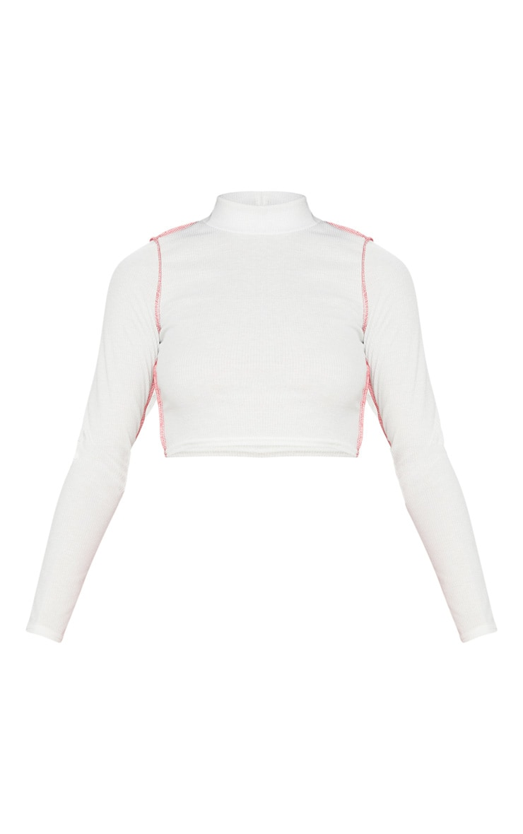 White Rib Contrast Stitch Long Sleeve Crop Top 3