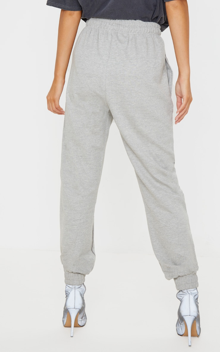 Grey Marl Contrast Stitch Joggers 4