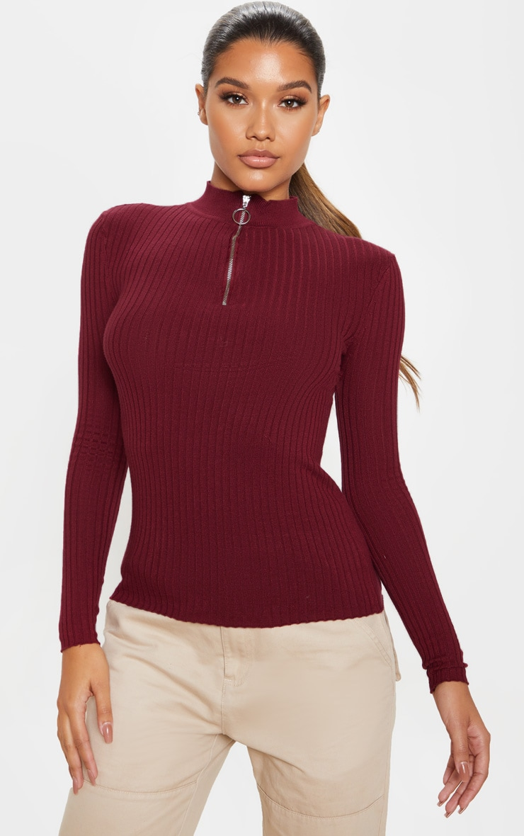 Wine Zip Front Knitted Rib Top 1