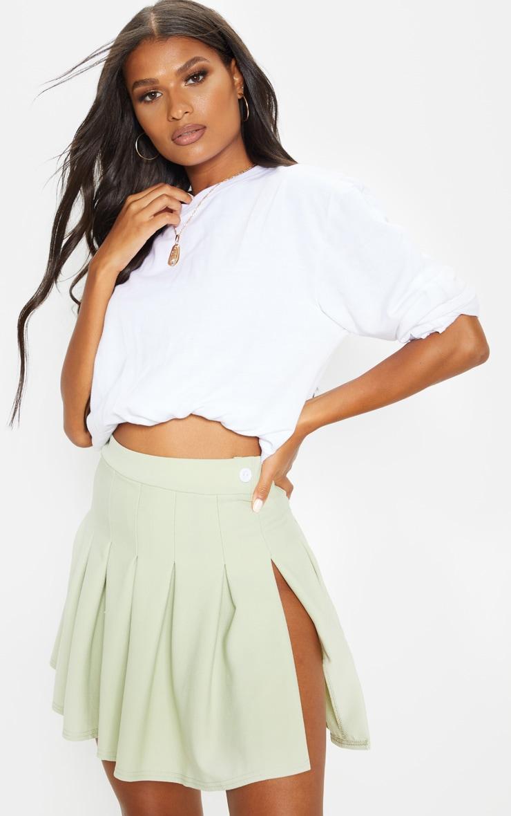 Sage Khaki Pleated Side Split Tennis Skirt 1
