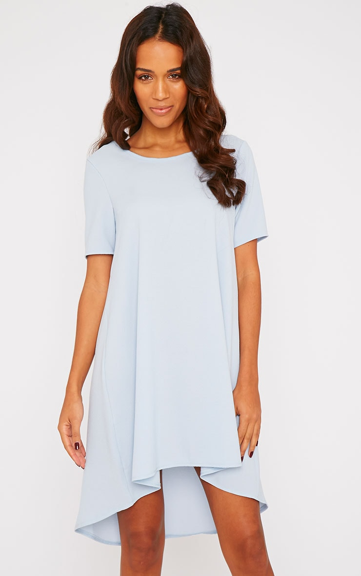Naina Powder Blue Crepe Step Hem Loose Fit Shift Dress 1