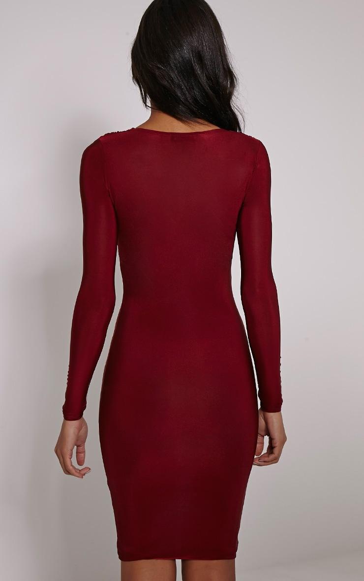 Adirenne Wine Slinky Deep V Neck Mini Dress 2