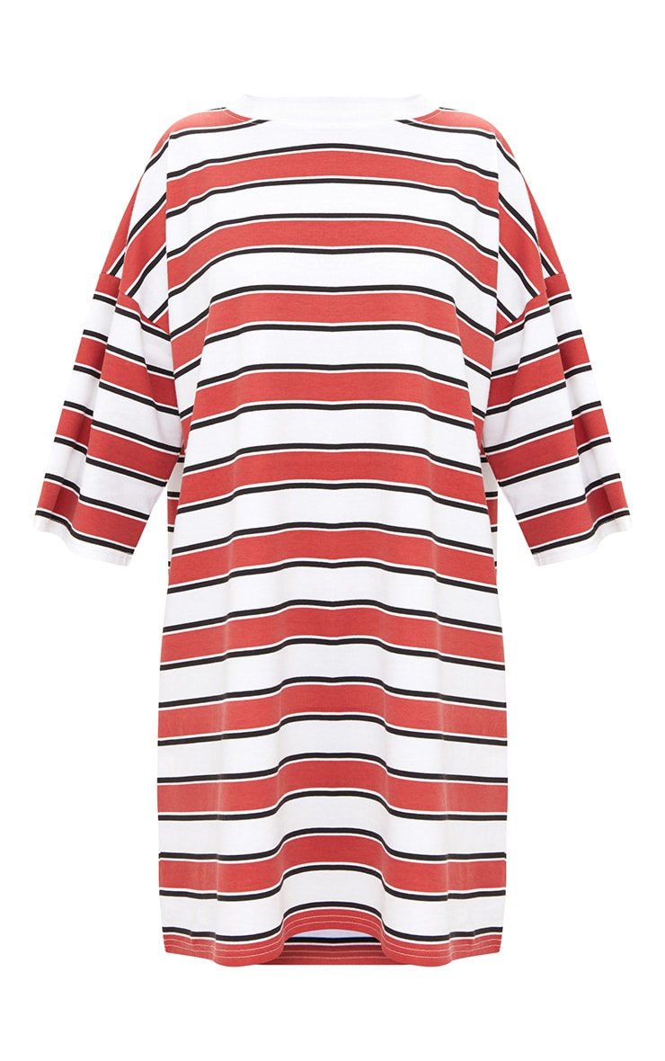 Red Striped Oversized Boyfriend T Shirt Dress 3