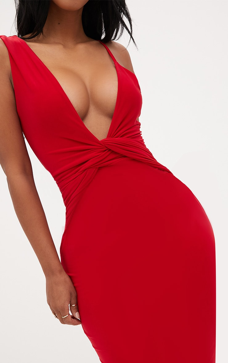 Shape Red Knot Front Plunge Midi Dress 5