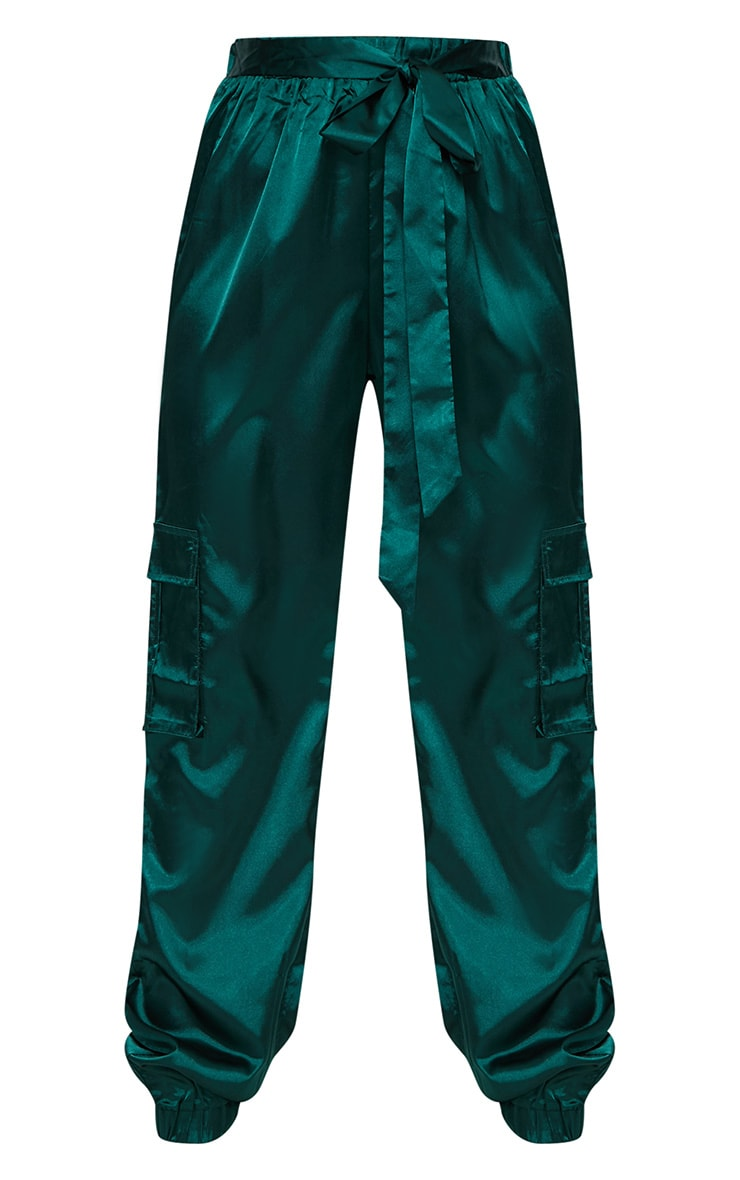 Emerald Green Satin Cargo Trousers 3