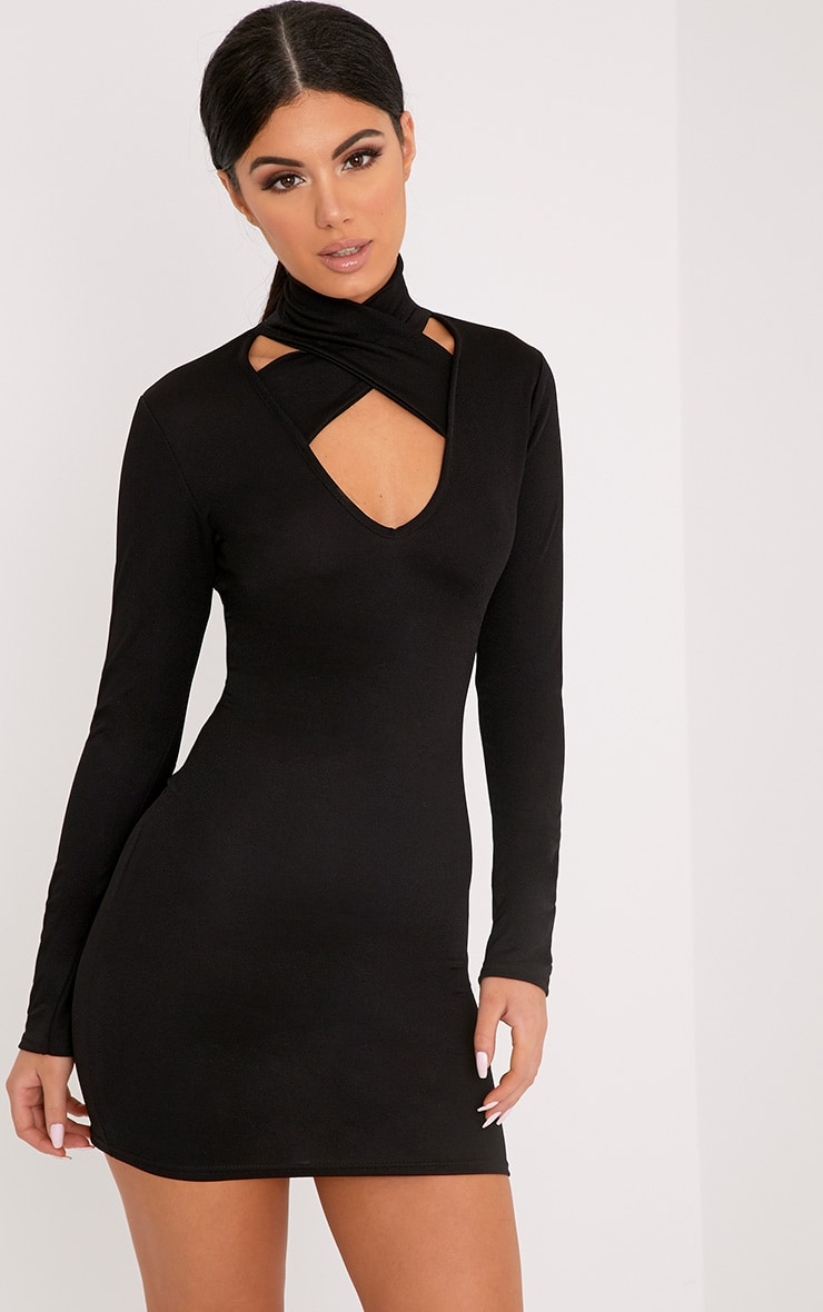 Maryana Black Plunge Choker Neck Bodycon Dress 1
