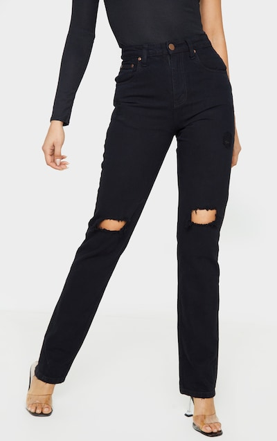 Tall Black Rip Knee Mom Jean