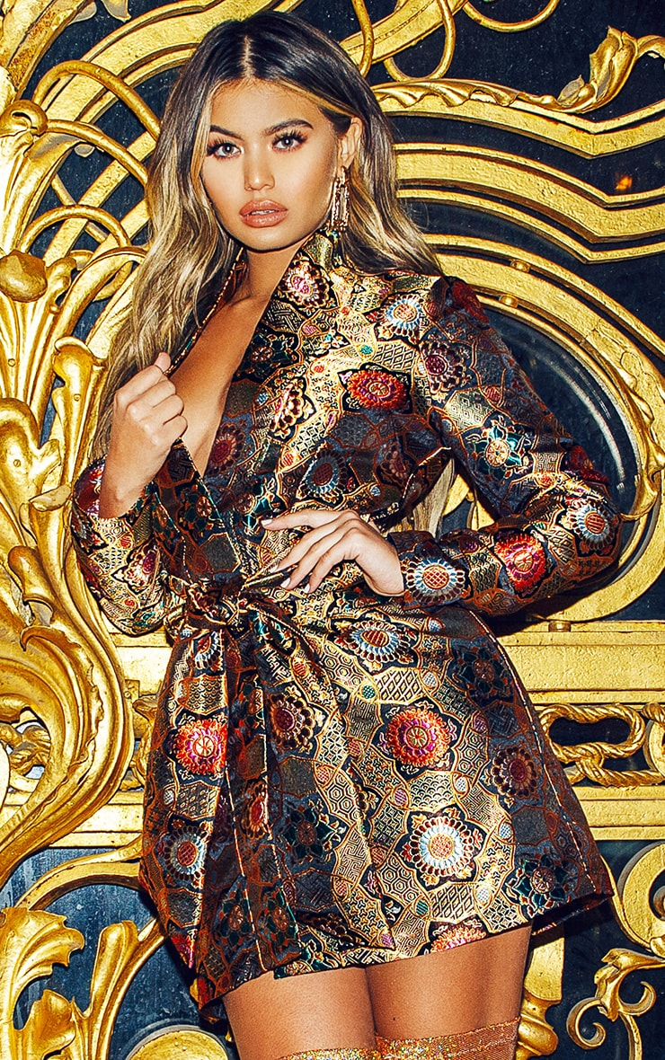 Multi Oriental Jacquard Printed Blazer Dress 1