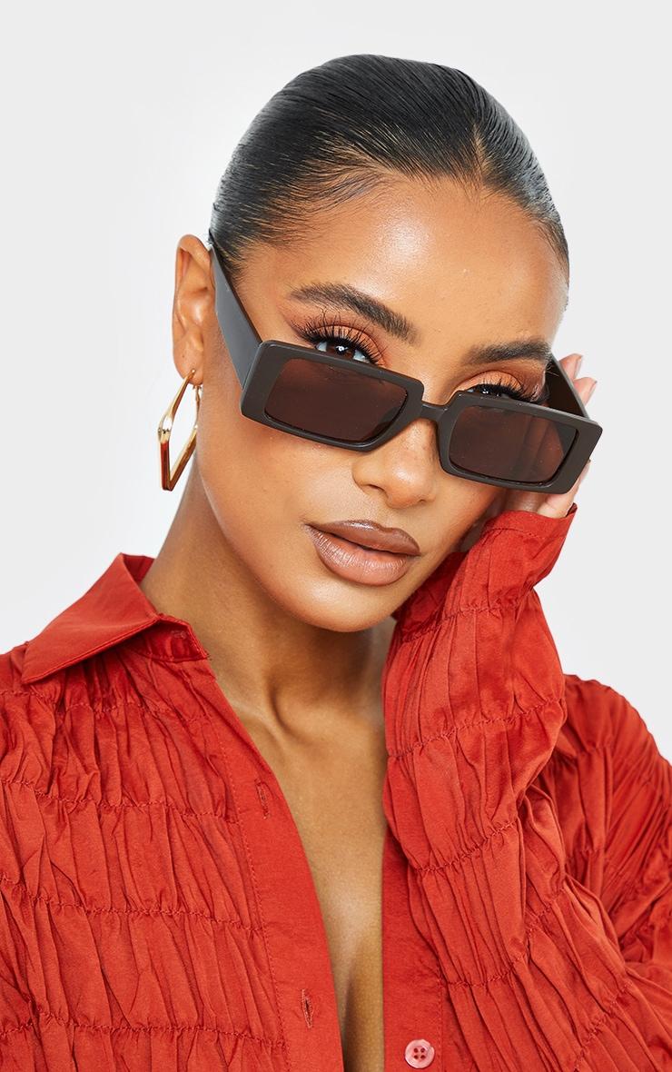 Chocolate Matte Square Frame Sunglasses 1