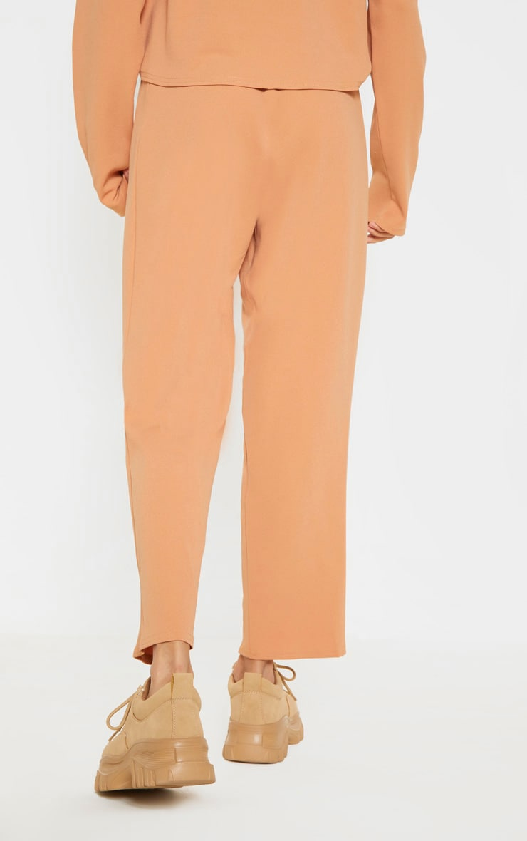 Pale Tan High Waisted Pleat Detail Tapered Trouser 4