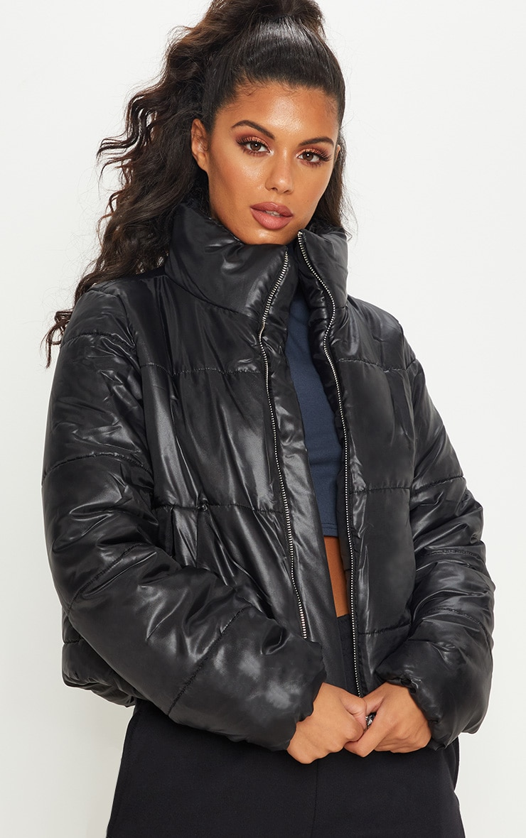 Black High Shine Cropped Puffer Jacket 1