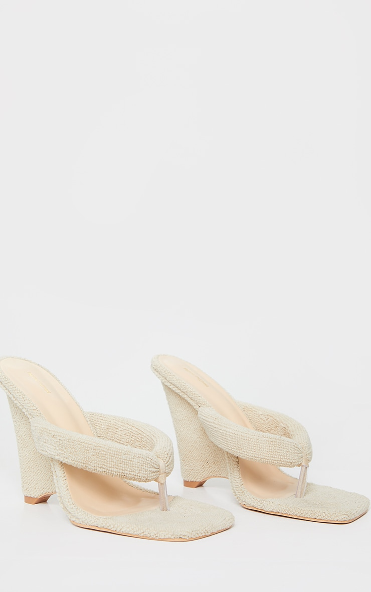 Sand Towelling Wedge Toe Thong Heels 5