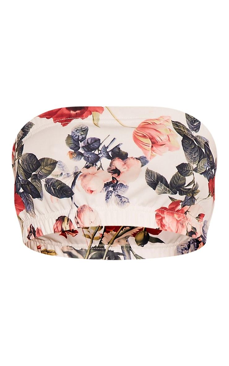 Lisette White Floral Print Bandeau Crop Top 3