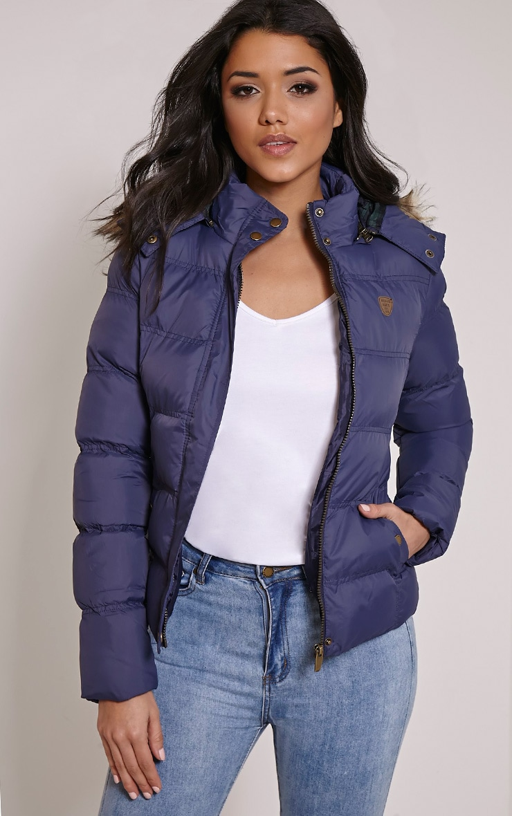 Victoria Navy Faux Fur Hooded Puffa Jacket 1