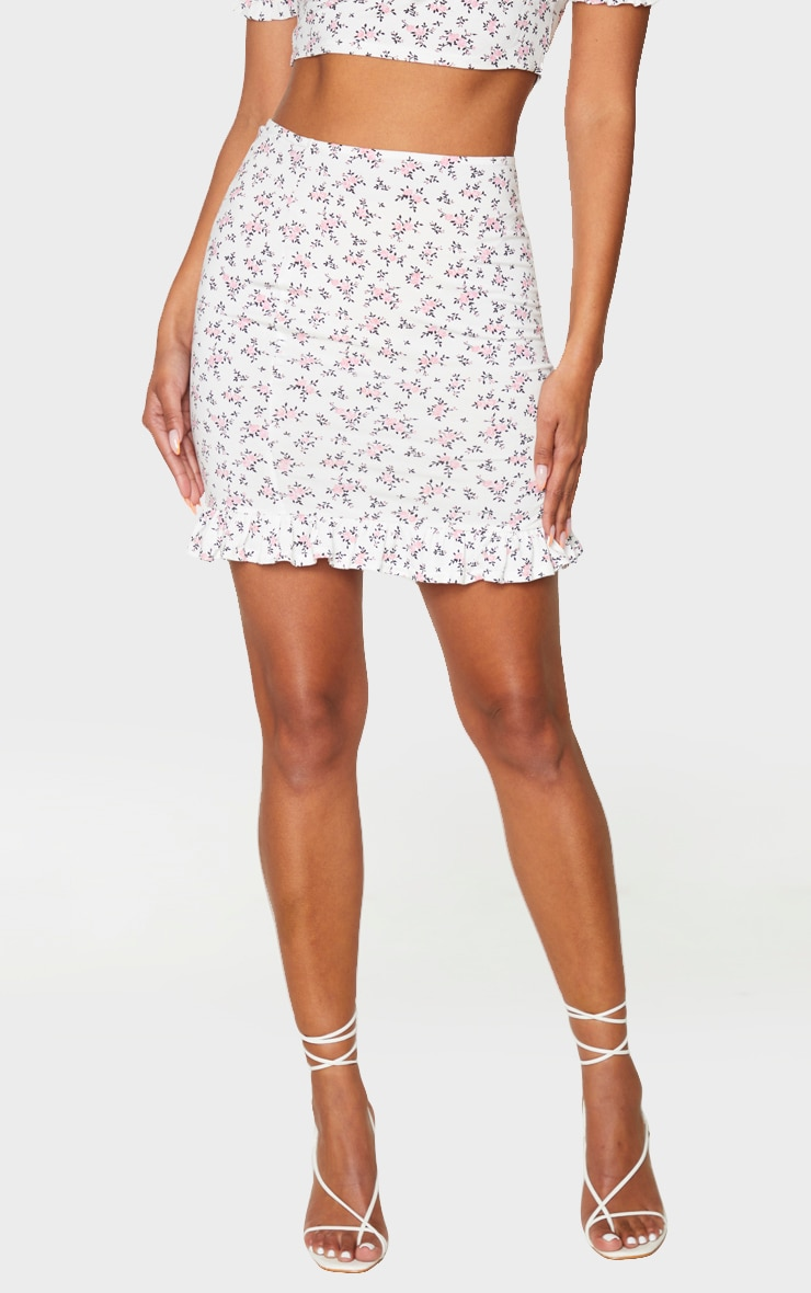 White Printed Jersey Frill Hem Mini Skirt 2