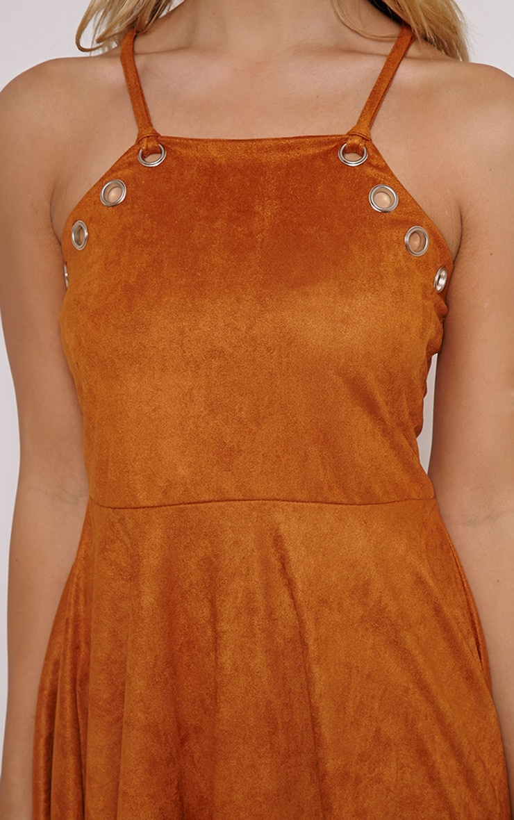 Issa Tan Eyelet Faux Suede Skater Dress 5