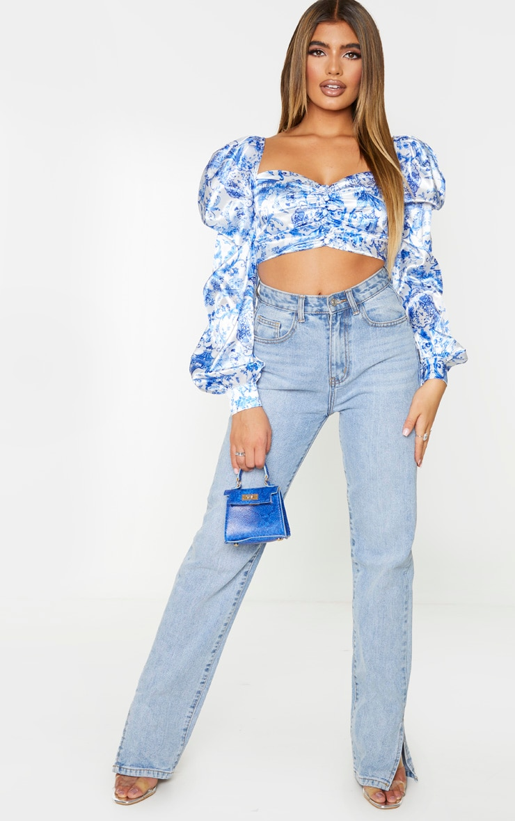 Blue Ornate Print Satin Button Front Square Neck Crop Top 4