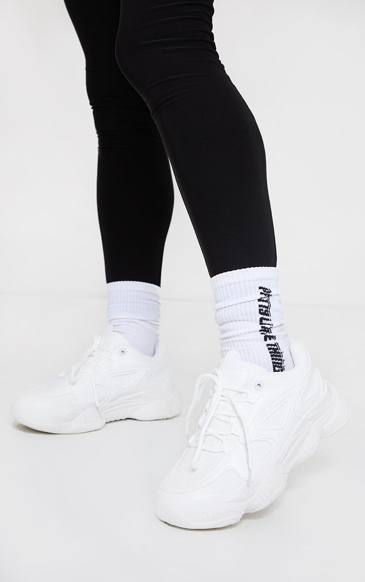 White Wide Fit Chunky Bubble Sole Panelled Up Trainer 2