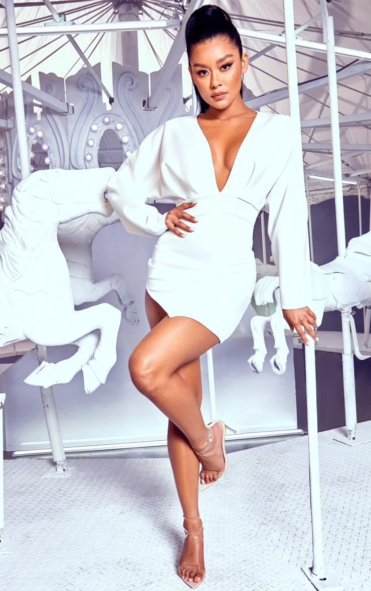 White Pleated Balloon Sleeve Bodycon Dress 4