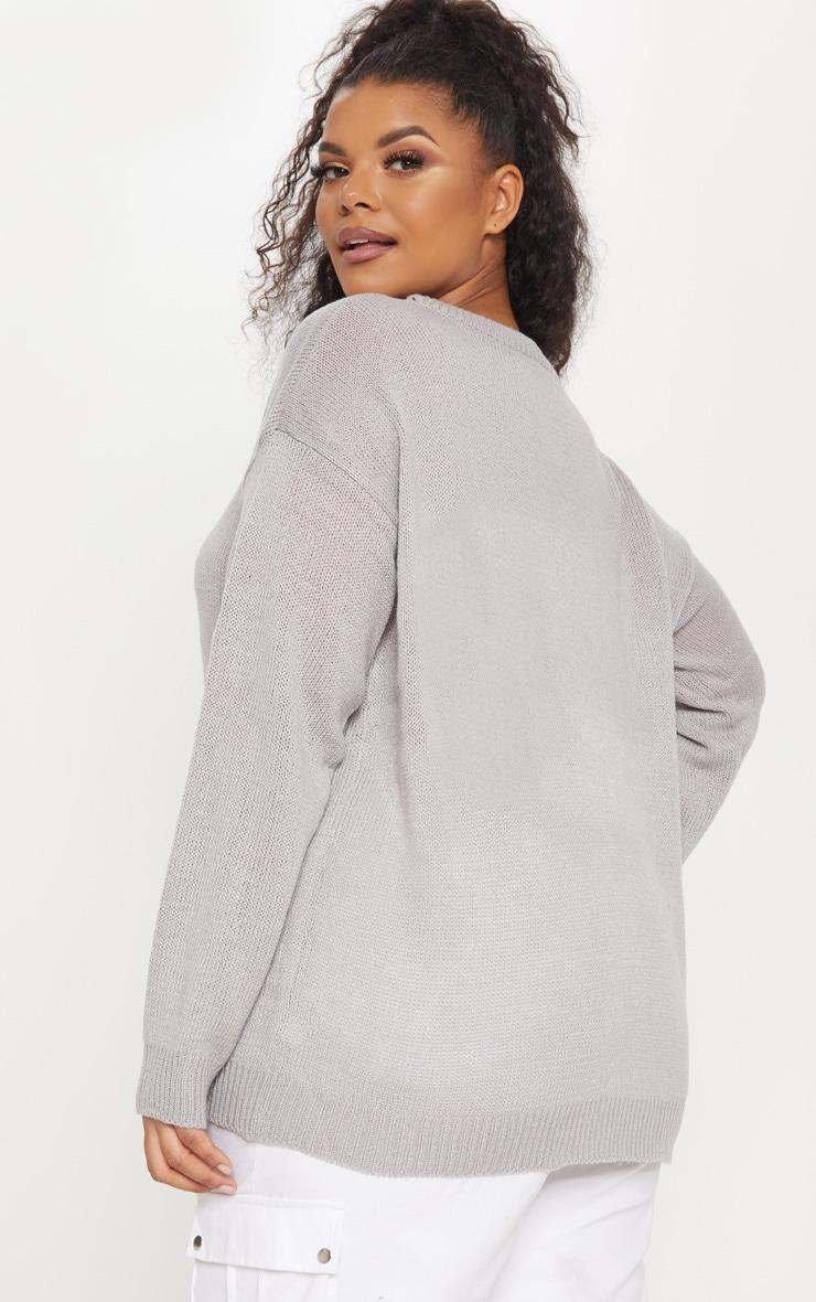 Plus Grey Penguin Pom Pom Sweater 2