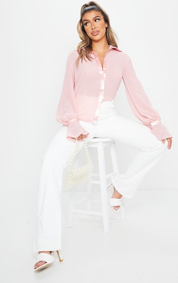 Chemise en mousseline de soie rose pâle à détail manches resserrées 3