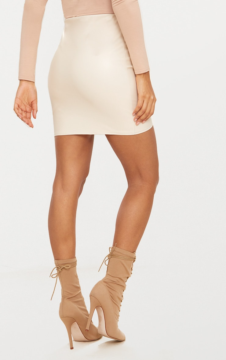 Stone Faux Leather Seam Mini Skirt 3