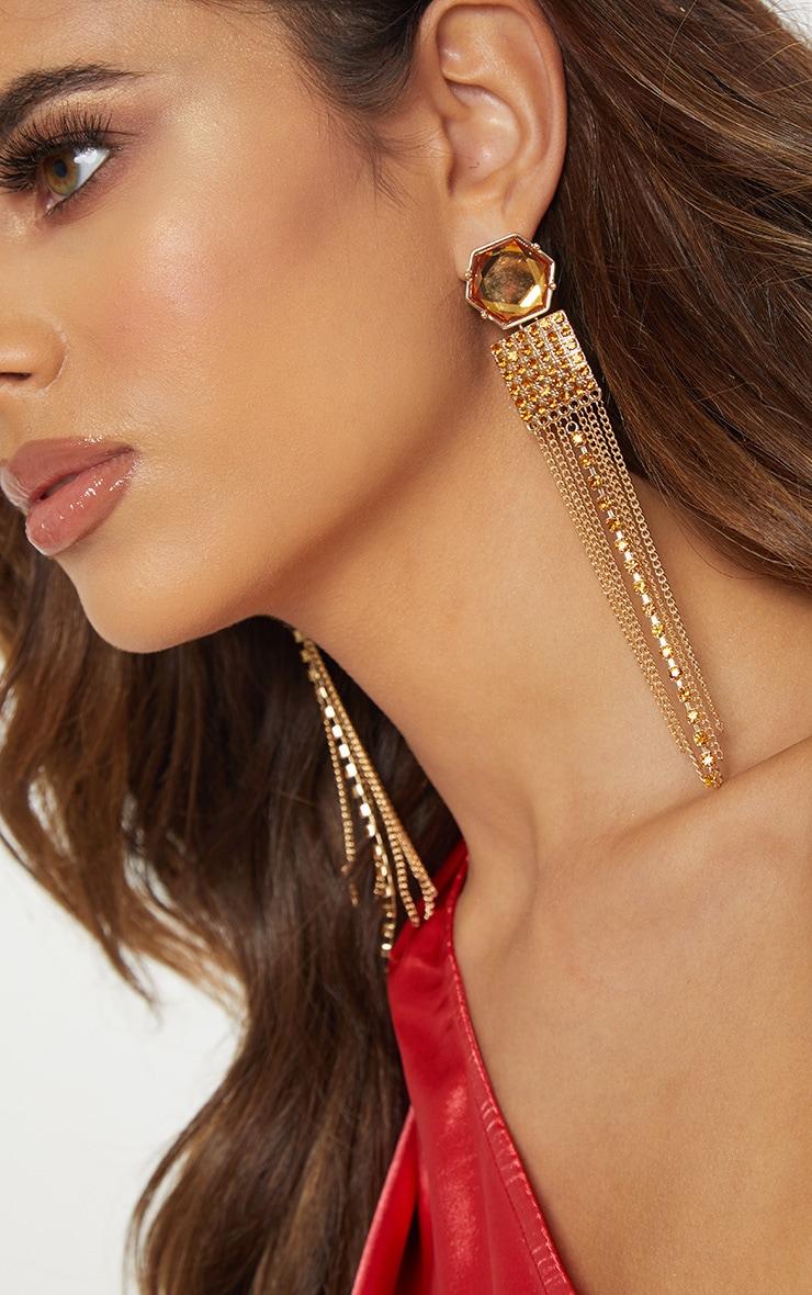 Gold Multi Shape Gemstone Tassel Drop Earrings 1