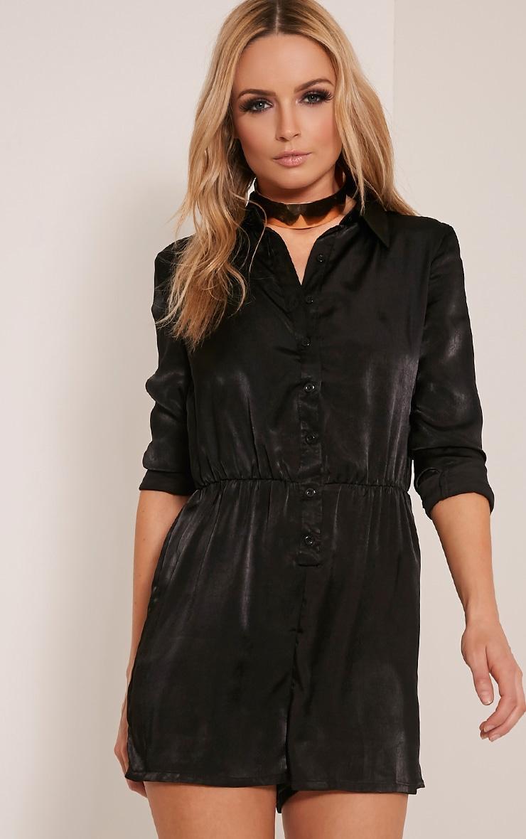 b0becadbf1 Pina Black Silk Feel Shirt Playsuit - Jumpsuits   Playsuits ...