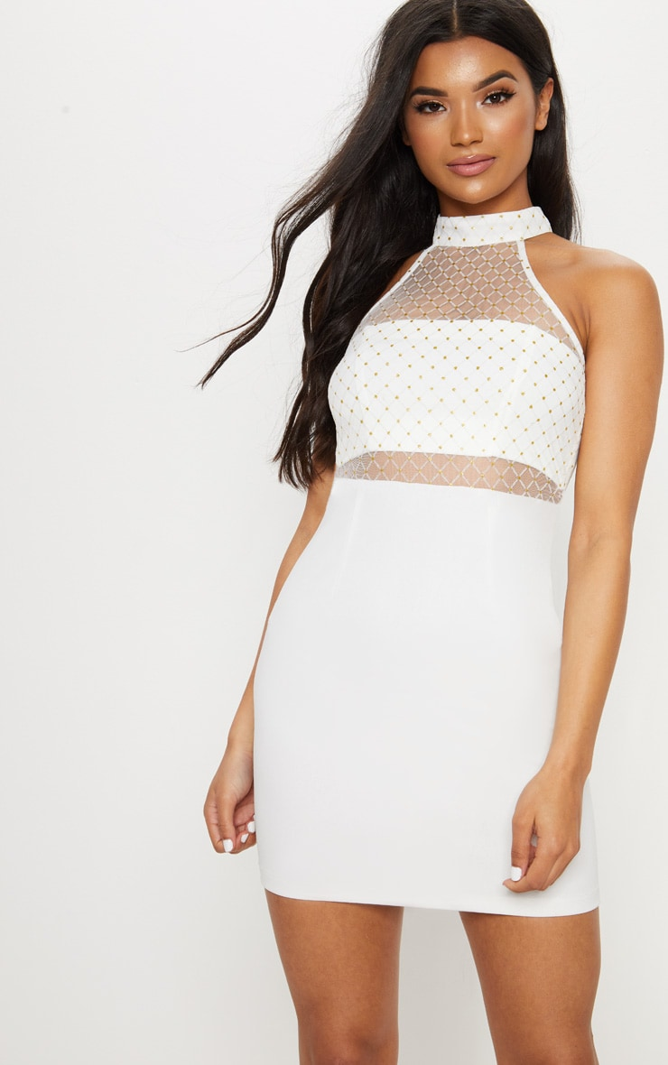 White Criss Cross Mesh Racer Neck Bodycon Dress 1