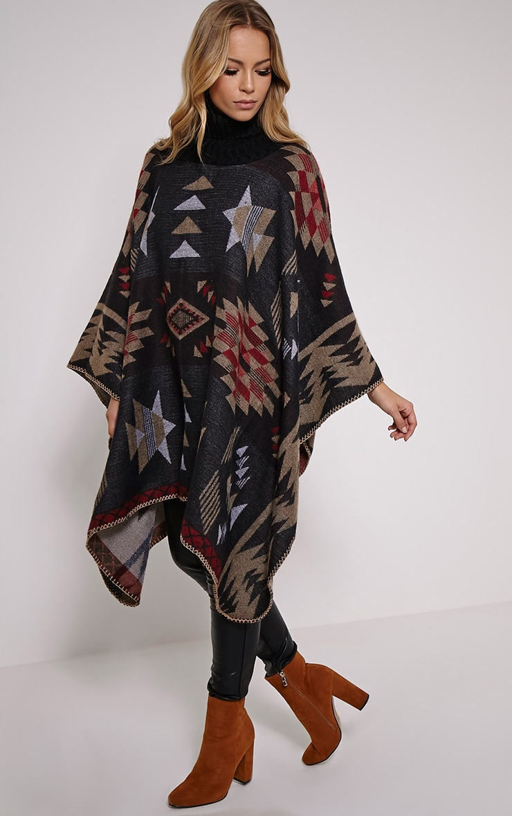 Jeska Black Knitted Neck Aztec Cape 1