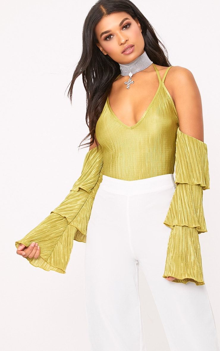 Lime Pleated Frill Sleeve Cold Shoulder Thong Bodysuit 1