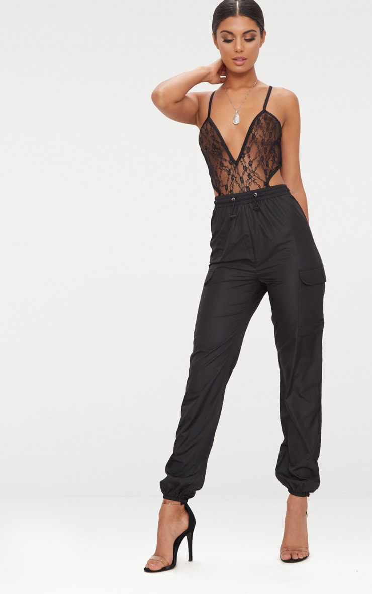 Black Toggle Waist Shell Suit Joggers 1